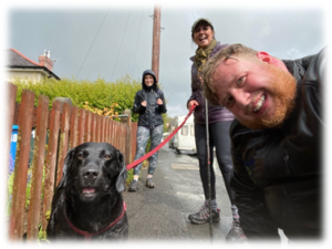 Photo of Dan Buckley, from P4otos, Christine Smith, from Bodyshop At Home and Professional writer, Elaine Hutchison, during their wet netwalking walk